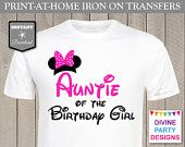 INSTANT DOWNLOAD Print at Home Hot Pink Mouse Auntie of the Birthday Girl Iron On Transfer / Printable / Trip / Family / Item #2305