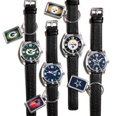 """Show off your team spirit all day long! Silvertone case and leatherlike strap, 10"""" L. Comes with matching keychain."""