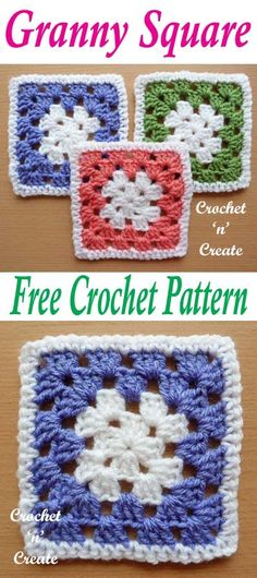 Everyone loves the granny square, make lots of projects, bags, blankets wearables etc. Free crochet pattern. #crochetncreate #freecrochetpatterns #crochetgrannysquare