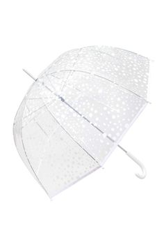 White/dotted. Umbrella in transparent patterned plastic with a plastic handle. Length 30 1/4 in.
