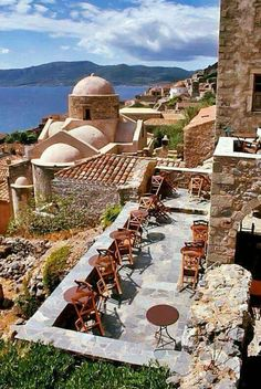 Having a nice brunch on this patio in Monemvasia, Greece would be nice I guess Places Around The World, Oh The Places You'll Go, Travel Around The World, Places To Travel, Places To Visit, Around The Worlds, Time Travel, Patras, Mykonos
