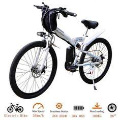 White Eshylala Folding Electric Bike City Mountain Cycling EBike US 722020234912 Mountain Bike Frames, Electric Mountain Bike, Mountain Biking, Buy Bicycle, Bicycle Rack, Mountain Bike Reviews, Folding Electric Bike, Road Bike Women, Dirtbikes