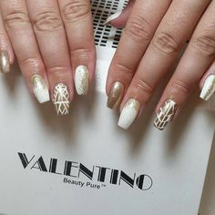 @Regrann from @nailsbygingerbread -  She loves getting her gold and white. .beginning to think she's a Greek goddess! 😉 @valentinobeautypure #valentinobeautypure #teamvalentino #nailsbygingerbread #marylandnailtech #nailartjunkie #naillover #dmvnails #dmvnailsalon #naillife #create #nailedit #naillove #bling #nailartwow #nailswag #nailedit #nails2inspire #acrylic #fly #fabulous #whodoesyournailsboo #nails #nailpro #dmv #polishgirl #fingers #nailtech #Regrann Nail Pro, Nail Tech, Swag Nails, Fingers, Love Her, Valentino, Pure Products, Nail Swag, Finger