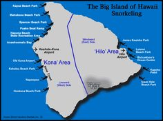Map of Snorkeling Beaches on The Big Island, Hawaii, USA from Owner Direct Vacation Rentals. Rent a home or condo close to the ocean.