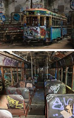 Rozelle Tram Depot in Sydney is a historic building containing six abandoned trams and streetcars, graffitied and resembling modern urban art Abandoned Train, Abandoned Buildings, Abandoned Houses, Abandoned Places, Abandoned Vehicles, Parks, Tree Photography, Haunted Places, Urban Exploration