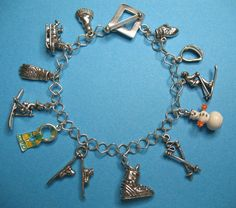 Vintage Sterling Silver Fun In The Snow Charm Bracelet