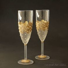 Wedding Glasses, Gold Glasses, Pearls Champagne Glasses, Champagne Flute, set of 2