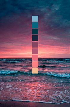 Sonnenuntergang am Meer // Farbschema // Meer, Wellen, rosa Sonnenuntergang Sunset at the sea // color scheme // sea, waves, pink sunset Colour Pallette, Color Combos, Sunset Color Palette, Sunset Colors, Pink Sunset, Pink Color Schemes, Maroon Color Palette, Pink Palette, Nature Color Palette