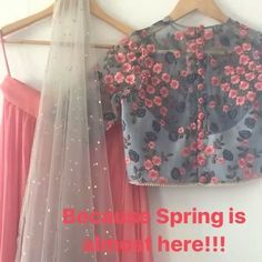 The Botanical Lehenga set is giving us early spring vibes! Choli Designs, Lehenga Designs, Blouse Designs, Pakistani Dresses, Indian Dresses, Indian Outfits, Indian Sarees, Indian Attire, Indian Ethnic Wear