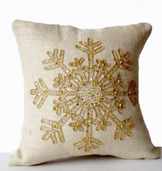 Ivory Burlap Pillows -Christmas Pillow -Snowflake -Cream Throw Pillow Cover -Christmas Cushion -Gold Sequin Snow Pillow -18x18 -Bedding Gift