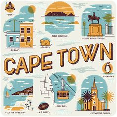 Muti created these Cape Town illustrations which highlight some of the cities iconic places such as the Table Mountain, the St. Martini Curch or the Bo Kaap Travel Brochure Design, Cities, Cape Town South Africa, Wish You Are Here, Thing 1, Vintage Travel Posters, Studio, Digital Illustration, Illustration Styles