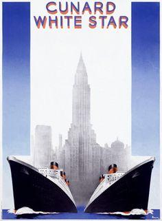 Vintage Art Deco Travel Poster by Cunard White Star. @designerwallace