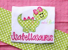 Girl Dinosaur Embroidered Shirt  Dinosaur Shirt  by smallwonders00, $22.00