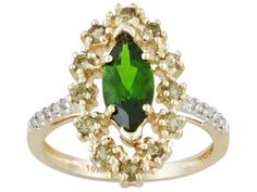 Russian Chrome Diopside And Moldavite 1.65ctw With Diamond Accent 10k Yg Ring