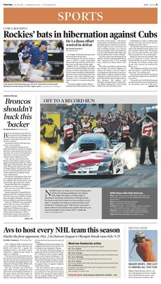 Saturday, July 20, 2013 Denver Post sports cover.