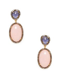 Freeform Tanzanite & Pink Opal Oval Drop Earrings by Amrapali on Gilt.com