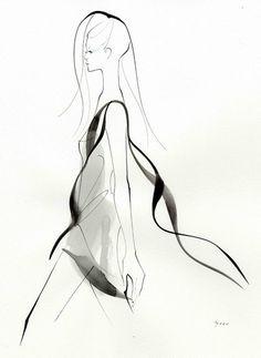 Watercolour Fashion Illustration - stylish monochrome fashion sketch // Yoco Nagamiya