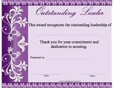 Recognize the commitment and dedication to scouting of your leaders. Free to download and print