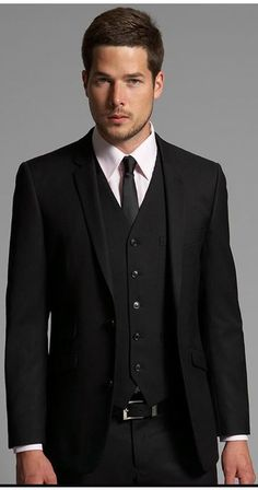Wear a black three piece suit with a pink classic shirt to ooze class and sophistication. Shop this look on Lookastic: https://lookastic.com/men/looks/black-three-piece-suit-pink-dress-shirt-black-tie/14473 — Black Leather Belt — Black Three Piece Suit — Black Tie — Pink Dress Shirt