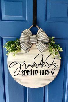 Wooden Door Hangers, Wooden Doors, Wooden Signs, Initial Door Hanger, Front Door Signs, Front Door Decor, Front Door Letters, Diy Wreath, Door Wreaths
