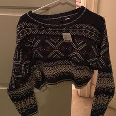Aztec Crop Sweater Aztec Crop Sweater New With Tags Urban Outfitters Tops Crop Tops