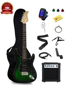 Stedman Pro TGRB Beginner Series Electric Guitar W Case Strap Cable Cap for sale online Beginner Electric Guitar, Electric Guitar Kits, Cool Electric Guitars, Bob Marley Mellow Mood, Best Electric Scooter, Rock Sound, Guitar Bag, Guitar For Beginners, My Escape