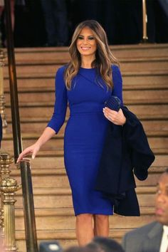 Melania Trump 's First Lady style is on point. She showcased a few high-fashion looks as she accompanied President Donald Trump . Trump Melania, First Lady Melania Trump, Melania Trump Dress, Melania Trump Hair Color, First Ladies, Design Textile, Marine Uniform, Inspirational Celebrities, Work Attire