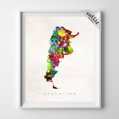 Argentina Watercolor Map Print. Prices from $9.95. Available at www.InkistPrints.com #Watercolor #Argentina
