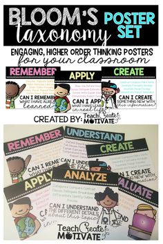 {Bright & Simple} Higher Order Thinking Posters for your classroom!