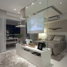 Modern contemporary luxury white master bedroom with TV inside a glass panel ! Sexy, cool and wonderful! Double bedroom dream house luxury home house rooms bedroom furniture home bathroom home modern homes interior penthouse Tv In Bedroom, Master Bedroom Design, Luxury Master Bedroom, Master Bedrooms, Bedroom Furniture, Bedroom Romantic, Furniture Plans, Fancy Bedroom, Bed Room