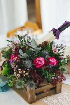 Flowers in Wooden Crates Centerpieces   Weddings   Floral Decorations   Flowers   Wedding Decor   #flowers #weddingdecor #weddings #floraldesigns   www.starlettadesigns.com