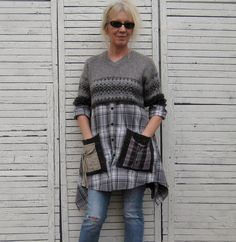 Relaxed Sweater Tunic Upcycled Clothing Recycled Sweaters