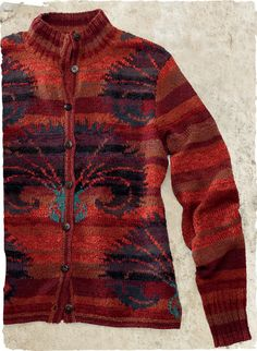 Kaffe Fassett's painterly art knit is a striking display of indigo Asian fans on a rich persimmon ground. Handloomed, blending 23 gorgeous hues of pima (98%) and alpaca (2%). Finished with a buttoning neck and Kaffe's signature banded rib trims. Exclusively ours.