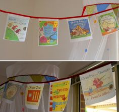 How to make book cover bunting - scan in image to computer, transfer images onto printer transfer paper and then iron onto fabric. Use books for topic Library Displays, Classroom Displays, Classroom Organization, Classroom Decor, Classroom Ceiling, Ks1 Classroom, Book Displays, Make A Book Cover, Cover Books