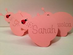 These would be the ladybug place cards if the host chose to set up the tables according to guests attending.