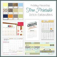 Favorite 2013 Free Printable Calendars
