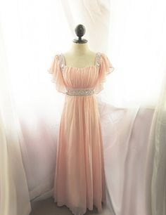 Medieval Egyptian Baby Pink Peach Blush Dusty Rose Soft Butterfly Dreamy Alice in Wonderland Flowy Angel Marie Antoinette Vintage Gown