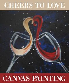 Social Artworking: Cheers to Love | This glass of red and glass of white seem to be getting along just fine! The whimsical sloshing effect makes it look like two lovebirds sneaking a quick kiss while gazing at the stars.