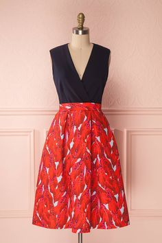 Elam #boutique1861 #dress #mididress #navy #red #flowers #floralprint