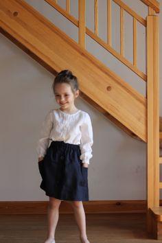 Girls White linen blouse White girls linen blouse girls linen shirt Sale Item…