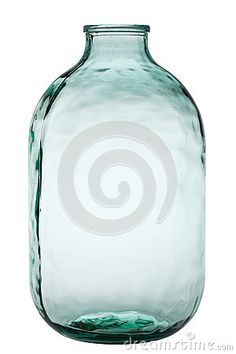 Two-gallon glass jar isolated on white background.