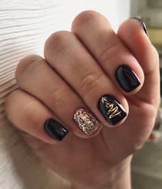 New Year& nails. Best Picture For chrome Nail For Your Taste You are looking f - Christmas Gel Nails, Holiday Nails, New Year's Nails, Hair And Nails, Cute Nails, Pretty Nails, Nagel Blog, Gold Glitter Nails, Manicure E Pedicure