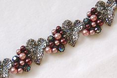 SCHIAPARELLI Signed Vintage Aurora Borealis Rhinestone & Pearl Cabochon 5 Link Bracelet. For Sale by JewelryCollectors Roadshow on Facebook  https://www.facebook.com/JewelryCollectorRoadshow/photos_albums
