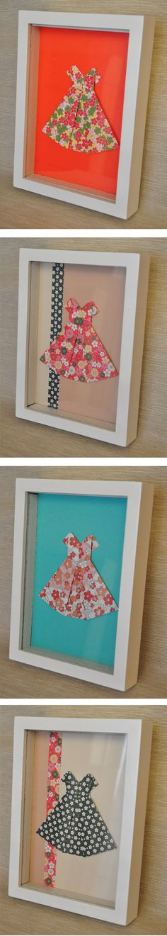 cuadros con vestidos en origami
