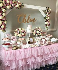 Pin by mari zeeb on abbis first birthday decoracion mesas de postres, dulce Deco Baby Shower, Shower Party, Baby Shower Parties, Baby Shower Themes, Baby Shower Decorations, Bridal Shower, Shower Ideas, Baby Shower Table Set Up, Girl Babyshower Themes