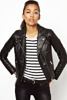 At ASOS. Another quintessential leather jacket but with quilted details. | 25 Fall Jackets That Will Make You Wish It Were Already Cold