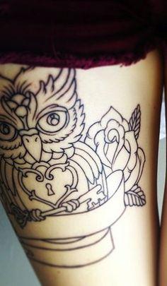 owl tattoo. Like the lock and key