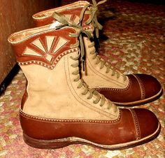 Victorian child's leather and suede lace-up boots.