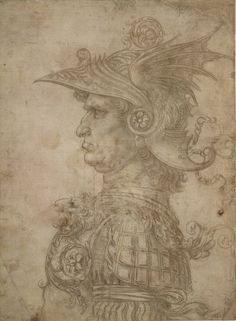 Drawings By Da Vinci | Leonardo da Vinci (Italian, 1452-1519). Head of a Warrior, ca. 1475-80 ...