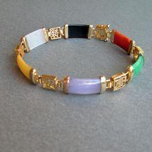 Chinese Multi-Color Jade Links Gold on Sterling Vintage Bracelet Quartz Jewelry, Jade Jewelry, Cheap Jewelry, Buy Gold Jewellery Online, Gold Jewellery Design, Mens Gold Jewelry, Silver Jewelry, Jade Bracelet, Bangle Bracelets